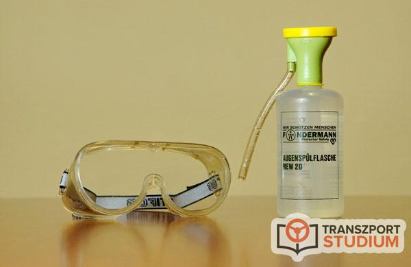 Védőszemüveg és szemöblítő palack - ADR felszerelés egy része